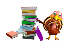 Cute Turkey cartoon character with books Royalty Free Stock Image