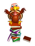 Cute Turkey cartoon character with books Royalty Free Stock Images