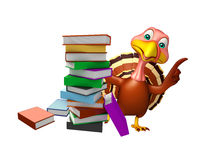 Cute Turkey cartoon character with books. 3d rendered illustration of Turkey cartoon character with books Stock Photos
