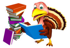 cute Turkey cartoon character with books