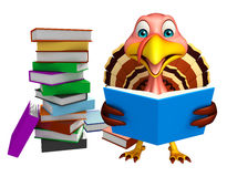 Cute Turkey cartoon character with books. 3d rendered illustration of Turkey cartoon character with books Stock Photography
