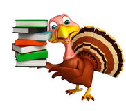 Cute Turkey cartoon character with books. 3d rendered illustration of Turkey cartoon character with books Royalty Free Stock Images