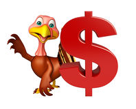 Cute Turkey cartoon character with dollar sign Royalty Free Stock Images