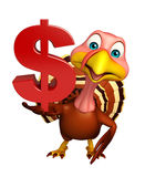 Cute Turkey cartoon character with dollar sign Stock Photos