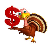 Cute Turkey cartoon character with dollar sign Royalty Free Stock Image