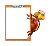 cute Turkey cartoon character with exam pad Royalty Free Stock Image