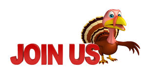 cute Turkey  cartoon character with join us sign Stock Images