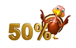 Cute Turkey cartoon character with 50% sign. 3d rendered illustration of Turkey cartoon character with 50% sign Stock Photography