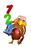 Cute Turkey cartoon character with 123 sign Stock Image