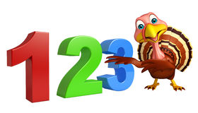 Cute Turkey cartoon character with 123 sign Stock Images