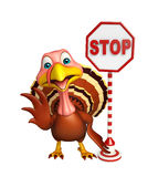 Cute Turkey  cartoon character with stop sign Stock Image