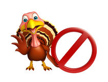 cute Turkey  cartoon character with stop sign Royalty Free Stock Photography
