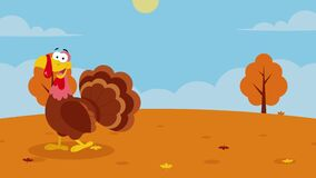 Cute Turkey Cartoon Character Walking With Fall Landscape And Text