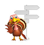 cute Turkey  cartoon character  with way sign Stock Images