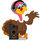 Cute turkey cartoon listen music Royalty Free Stock Photography