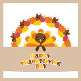Cute turkey girl on maple leaves and apples wreath vector cartoon illustration for thanksgiving`s day card design. Wallpaper and greeting card Royalty Free Stock Photo