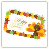 Cute turkey girl and maples leaves frame  cartoon illustration  Royalty Free Stock Photography