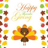 Cute turkey girl in the middle of maples leaves border vector cartoon illustration for thanksgiving`s day card design Stock Photos