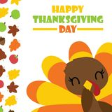 Cute turkey girl smiles and maples leaves border  cartoon illustration for thanksgiving`s day card design Royalty Free Stock Photography
