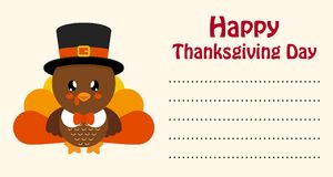 Cute turkey thanksgiving day card. Vector image of a cute turkey thanksgiving day card Stock Images
