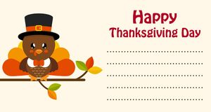 Cute turkey thanksgiving day card vector Stock Image