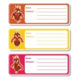 Cute turkeys on colorful background suitable for kid address label design royalty free illustration