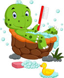 Cute turtle bathing vector illustration