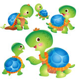 Cute turtle cartoon actions. Cute kids turtle cartoon vector Royalty Free Stock Photos