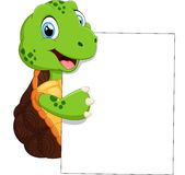 Cute turtle cartoon with blank sign Royalty Free Stock Photos