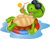 Cute turtle cartoon on inflatable round Royalty Free Stock Photography