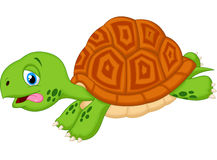Cute turtle cartoon running Stock Photos