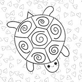 Cute turtle coloring book page. Royalty Free Stock Images
