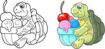 Cute turtle eating delicious ice cream. Cartoon cute turtle eating delicious ice cream Stock Images