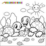 Cute turtle family coloring book page Stock Photos