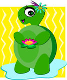 Cute Turtle with Flowers and a Smile Royalty Free Stock Image