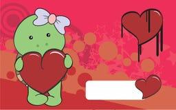 Cute turtle girl cartoon valentine backgorund Royalty Free Stock Photos