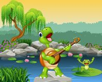 Cute turtle playing guitar on rock Royalty Free Stock Photography