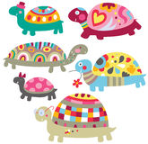 Cute Turtles. Adorable turtles with cheerful colors and funky patterns stock illustration