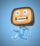 Cute TV-man running on blue background. Clipping path available. Original design Stock Photos