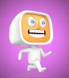 Cute TV-man running on pink background. Clipping path available. Original design Stock Image