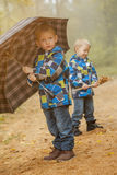 Cute twin brothers walking in autumn park Royalty Free Stock Photos