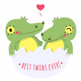 Cute twins baby crocodile in egg vector card and background with heart Stock Photography