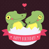 Cute twins baby crocodiles in egg vector happy birthday card Royalty Free Stock Photos