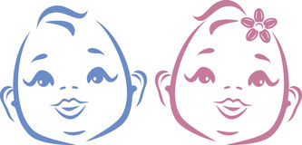 Cute twins. Outline drawing Royalty Free Stock Images