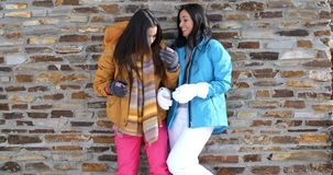 Cute twins in winter coats leaning on wall. Pair of cute smiling twins in gloves  winter ski coats and leaning on old brick wall outdoors embracing each other stock video