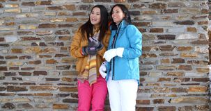 Cute twins in winter coats leaning on wall. Pair of cute smiling twins in gloves  winter ski coats and leaning on old brick wall outdoors embracing each other stock footage