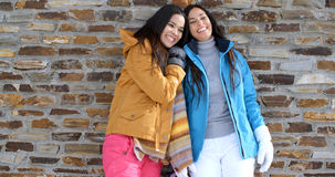 Cute twins in winter coats leaning on wall Stock Photos