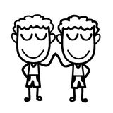 Cute two boys touching hands Stock Image