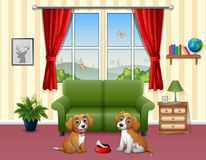 Cute two dogs sitting in the living room. Illustration of Cute two dogs sitting in the living room Royalty Free Stock Images