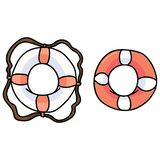 Cute two lifebelts cartoon vector illustration motif set. Hand drawn isolated lifebuoy elements clipart for dangerous sailing blog. Nautical graphic, rubber vector illustration